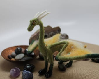 Needle Felted Dragon Sculpture; Green