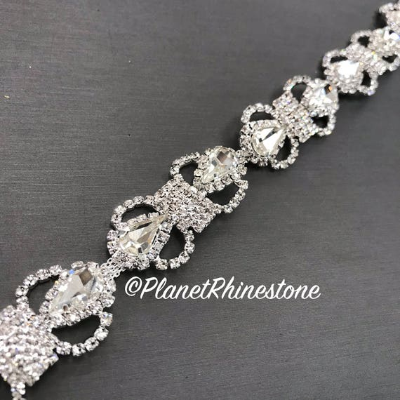 Silver Bow Bridal Crystal Trim #0304