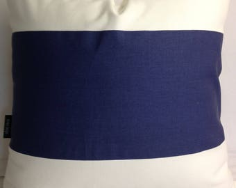 Made to order, Color block navy blue and white  decorative throw pillow