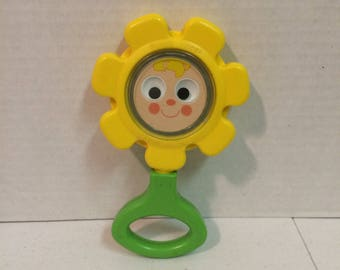 1973 Vintage Fisher Price flower rattle, Baby rattle, Vintage Fisher Price, Flower rattle, mirror rattle