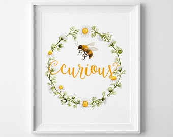 Bee Curious watercolor, Wall Art Printable, Floral print, Honeybee print, DIY wall art, Camomile print, 8 x 10in, inspirational art