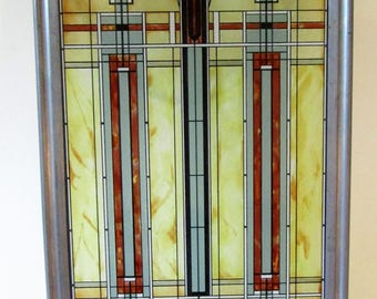 Frank Lloyd Wright Stained Glass Window Hanging Panel--Prairie Bradley House