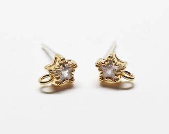 E0207/Anti-Tarnished Gold Plating Over Brass + Sterling Silver Post/Tiny Star Cubic Stud Earrings/4.95x6.5mm(include ring)/2pcs