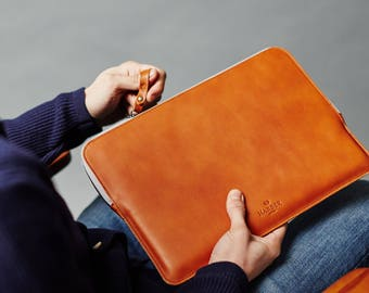 "Father's Day 13"" MacBook Pro Retina Zip Folio Leather Sleeve Case and Felt Laptop Cover Handmade"