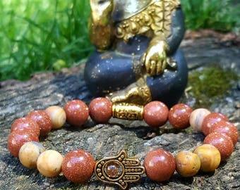Goldstone & crazy lace agate bohemian, stretch bracelet, with gold hamsa hand