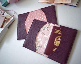 Purple passport cover, faux leather travel holder, passport holder, vegan leather documnets case, leatherette holder