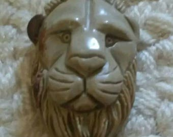 Carved succor creek Jasper lion head pendant
