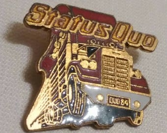 Status quo , 1984 vintage Crystal pin , really great brooch for real amateurs !! End Of The Road