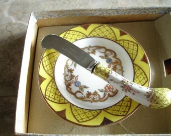 Vintage Rare gorgeous piece hand painted hand decorated germany,Blade england, Very old,Floraine sheffield,original box,fine china