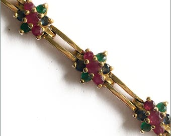 Ruby, Sapphire, Emerald and Gold bracelet