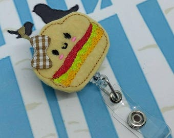 Embroidered Felt Badge Reel - Picnic Sandwich Retractable Badge Reel - Hamburger ID Badge Holder - Sandwich Badge Reel Clip - Set of 1