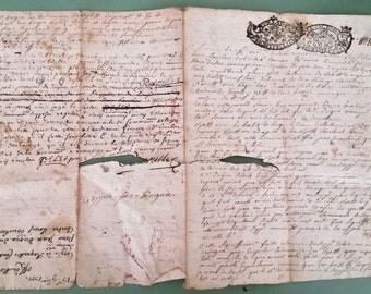 18th c. French Paper, Antique Ephemera, Antique Script Letter, 1700s French Ephemera