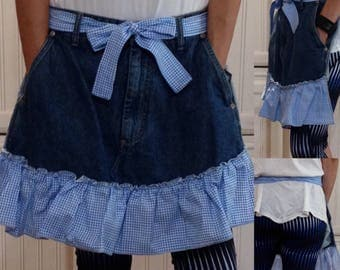 SALE Denim half apron cotton blue gingham check ruffle cotton blue gingham check ties long waist ties dark blue denim apron repurposed denim