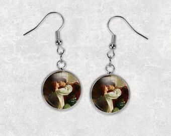 Kiss Painting, 12mm Dangle Earrings, Vintage Earring, Victorian Jewelry, Fine Art, Romeo and Juliet, Romantic Gift, Drop Earrings, Fish Hook