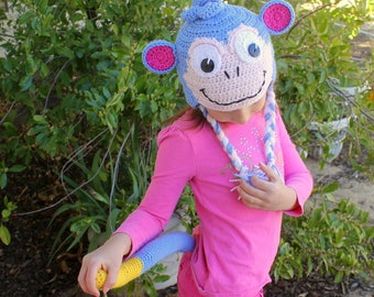 Boots the Monkey hat and TAIL, Boots the MONKEY dress-up, Dora the Explorer, Monkey HAT and tail Costume, Boots Monkey hat