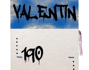 Customizable GRAFFITI blue junior teen for room gauge