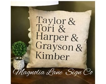 Custom pillow case, personalized pillow cover, family names pillow, personalized pillow, christmas gift idea