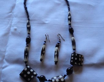 together necklace and Earring African earring 100% handmade