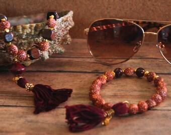 Wooden Henna Heart Bead Set