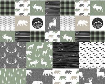Sage, tan and grey crib bedding, Lumberjack, camo,  woodland nursery, modern nursery, quilt, bumpers, deer, bear, woodland
