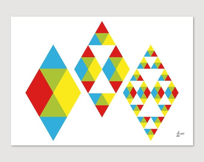 3-flake 01 [mathematical abstract art print, unframed) A4/A3 sizes