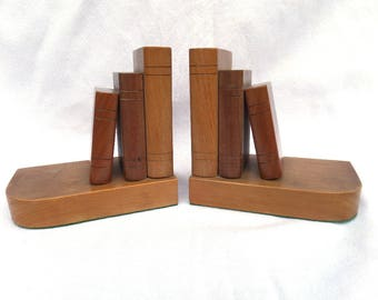 "Wooden Bookends, 'Stack of Books' Mid Century Circa 1960, Solid Northern European Pine, 6"" x 5.5"" x 3"", Excellent Vintage Condition"