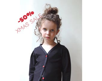 Christmas Girl Outfits, Christmas Cardigan Baby, Girls Cardigan, Baby Girl Cardigan, Black Cardigan, Cardigan 18 months to 5T - By PetitWild