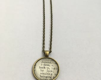 LUCKY Vintage Dictionary Word Pendant