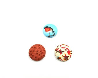 Handmande covered magnets buttons - Set of 3, robin bird, cinnamon leaves, automn floral