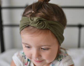 Knotted Headband, Baby Turban Headband, Baby Headwrap, Women's Turban Headband, Turban Headwrap, Baby Shower Gift, Dark Green