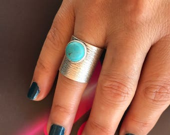 Metal ring, Turquoise ring, Silver plated, Oxidized ring,  Adjustable ring