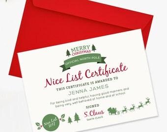 DIGITAL - Santa's Nice List Certificate - Children's Official North Pole Certificate