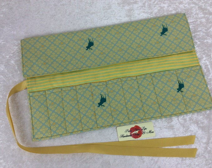 Mooses Makeup Pen Pencil Roll Crochet Knitting needles tool holder case  Handmade in England