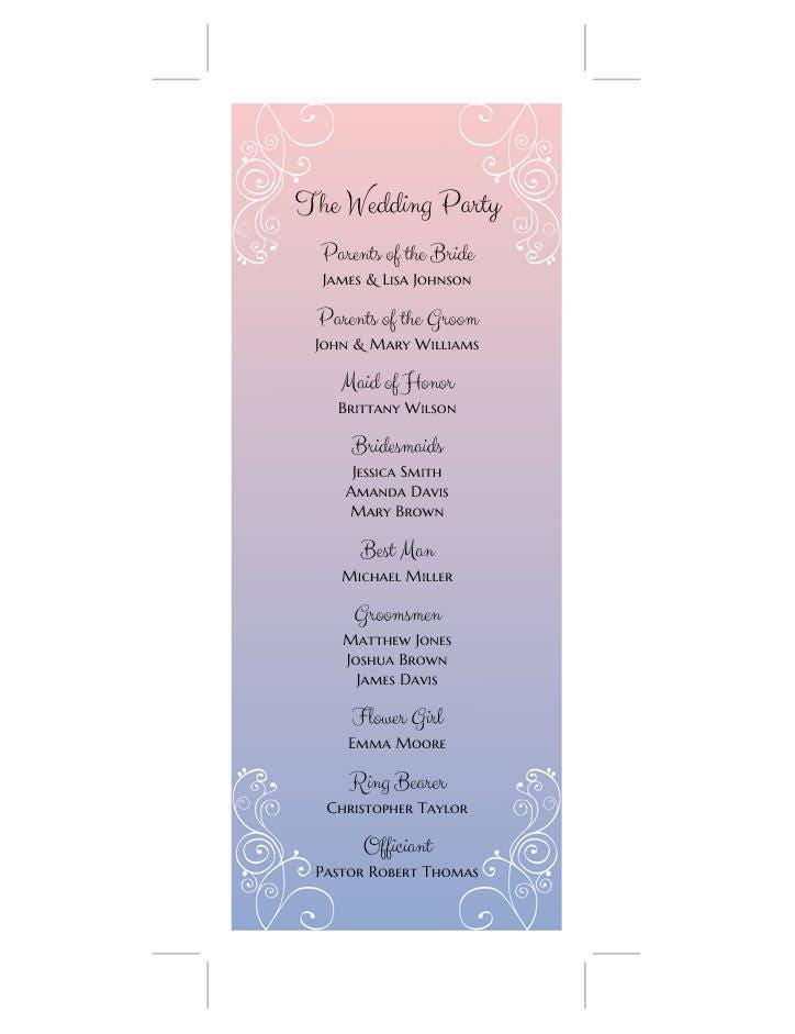 Rose Quartz And Serenity Blue Wedding Program Template Classic Programs Instant Download Ceremony