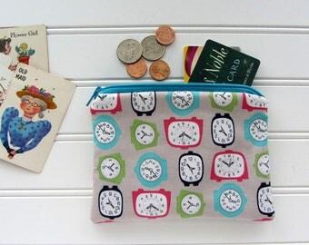 Clocks Novelty Coin Purse, Zipper Bag, Medicine Bag, Pacifier Bag, Small Make Up Bag, Zipper Bag Storage, Fabric Wallet