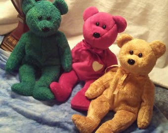 Ty Beanie Baby Lot - Ty Bears - Soft Teddy Plushies - Christmas Gift - Collectible Bears - Ty - Beanie Babies - Retired - Stuffed Animals