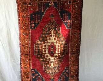 SALE Turkish rug, lush thick handmade,wool , 3x6ft deep orange red gold