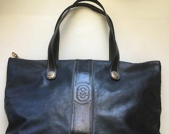 Vintage Marino Orlandi Extra Large Black Leather Purse