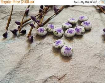 5% off Set of 10 Fabric Buttons, 14mm buttons, Floral Fabric Buttons, Decorative Buttons, Fabric Covered Buttons, White Buttons