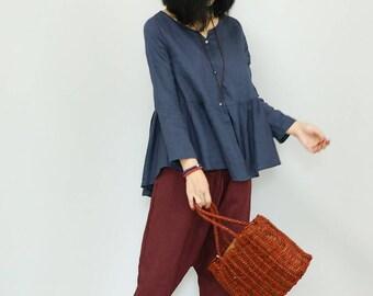 Women linen top linen tunic shirt asymmetrical shirt loose caftan spring autumn top maxi top handmade top custom
