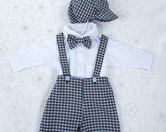 Baby Boy Formal Suit, Christening Outfit, 0-3 months, Baby Wedding Outfit, Baby Formal Shorts, Shirt, Bow Tie, Newsboy Cap, Boys Formal Suit