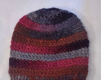 half price wool hat in shades of grey red and brown