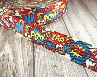 Comic ribbon - Super hero ribbon - Fun ribbon - Grosgrain ribbon - Themed ribbon - Boom zap bam - Movie ribbon - Cartoon ribbon - Craft