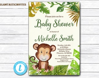 Monkey Baby Shower Invitation, Safari Baby Shower Invitation, Jungle Baby Shower Invitation, Baby Shower Invite, Baby Shower Template,Monkey
