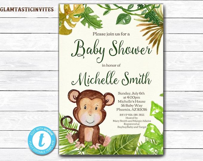 Monkey Baby Shower Invitation, Safari Baby Shower Invitation, Jungle Baby Shower Invitation, Baby Shower Invite, Baby Shower Template,Monkey