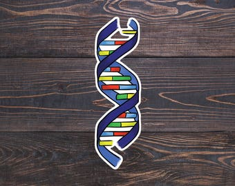 DNA Sticker, Science Laptop Decal, Biology Gifts, Nerd Laptop Stickers, Watercolor DNA Decal, Geek Car Sticker, Genetics Gift, Double Helix