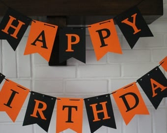 Halloween Birthday Banner, Black Orange Birthday Banner, Halloween Birthday Party, Fall Birthday Banner, Construction Birthday Banner