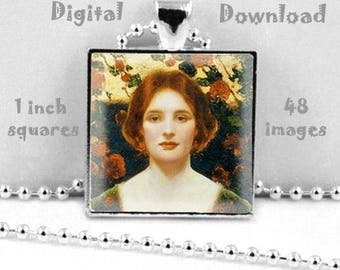 Thomas E. Mostyn - Digital Download, 1 inch squares on 8.5 x 11 paper, printable images for pendants, magnets, bezel trays