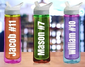 "WATER BOTTLE DECAL with your text / name (2"" x 6""). Personalized Vinyl Decals, Christmas gift ideas for Coworkers Friends Him/Her, Team"