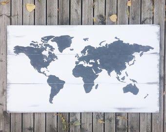 4ft White Wash World Map